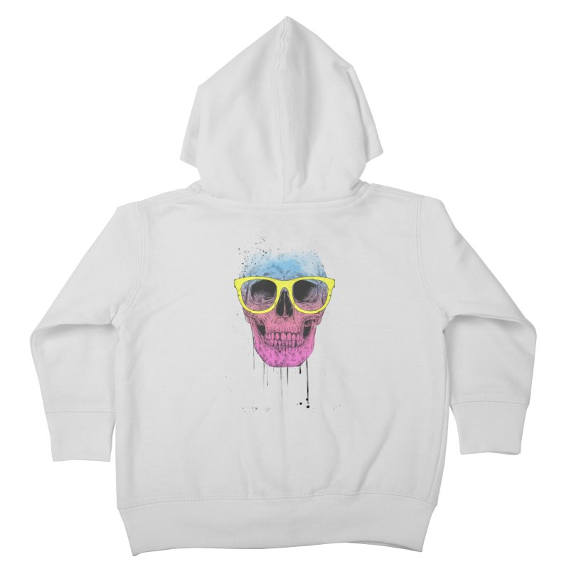Pop art skull with glasses Kids Toddler Zip-Up Hoody by Balazs Solti