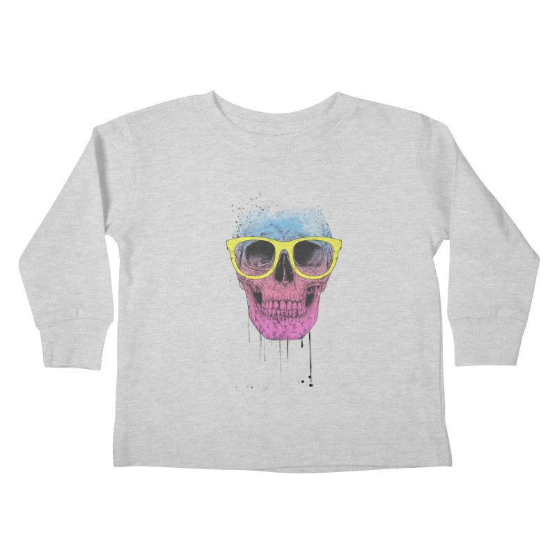 Pop art skull with glasses Kids Toddler Longsleeve T-Shirt by Balazs Solti