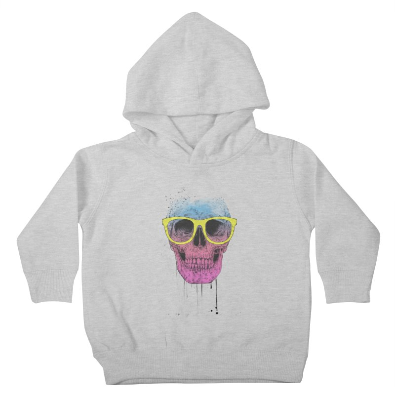 Pop art skull with glasses Kids Toddler Pullover Hoody by Balazs Solti