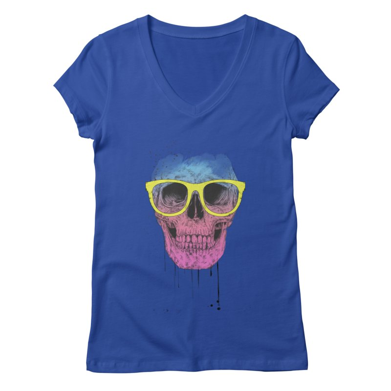 Pop art skull with glasses Women's Regular V-Neck by Balazs Solti