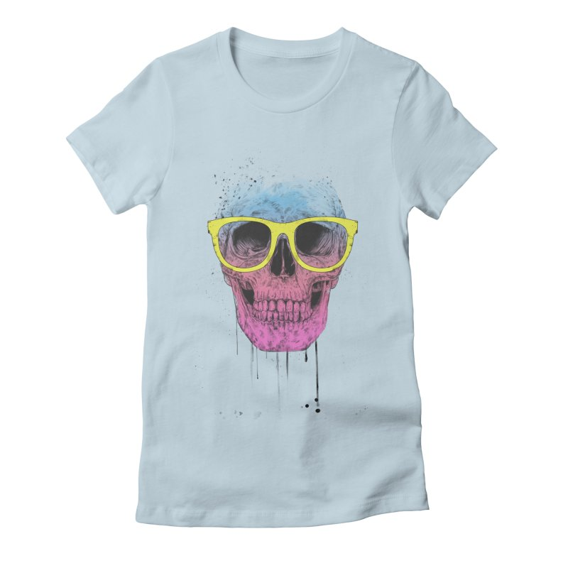 Pop art skull with glasses Women's Fitted T-Shirt by Balazs Solti