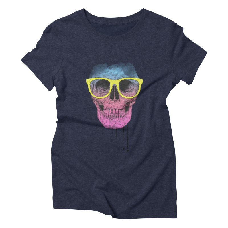Pop art skull with glasses Women's Triblend T-Shirt by Balazs Solti
