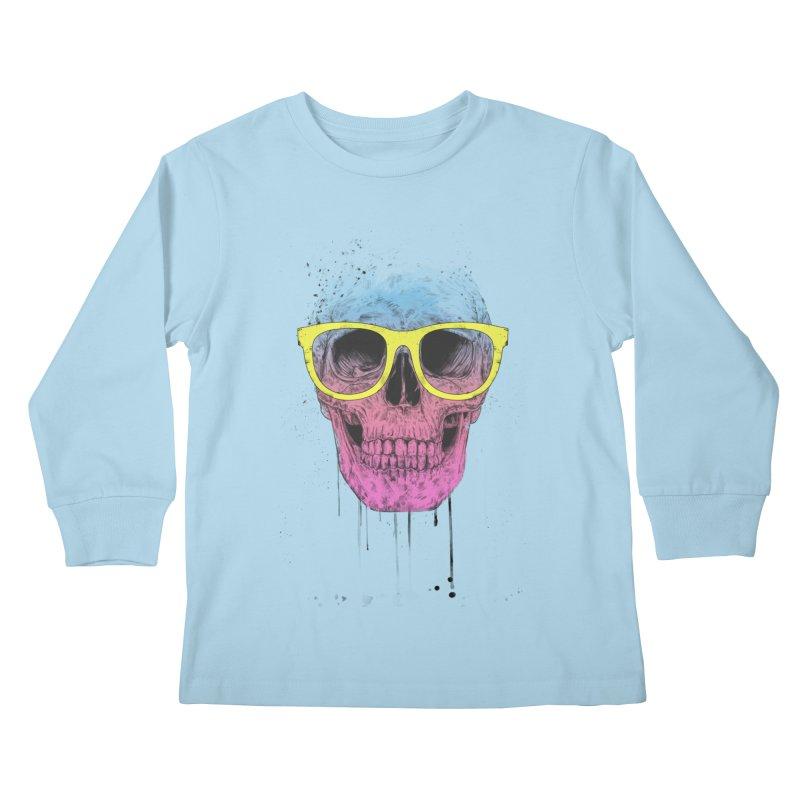 Pop art skull with glasses Kids Longsleeve T-Shirt by Balazs Solti