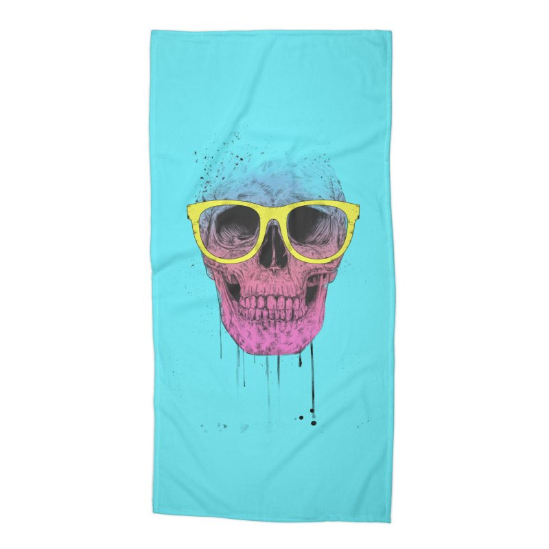 Pop art skull with glasses Accessories Beach Towel by Balazs Solti