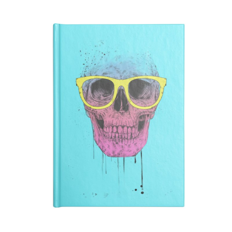 Pop art skull with glasses Accessories Lined Journal Notebook by Balazs Solti