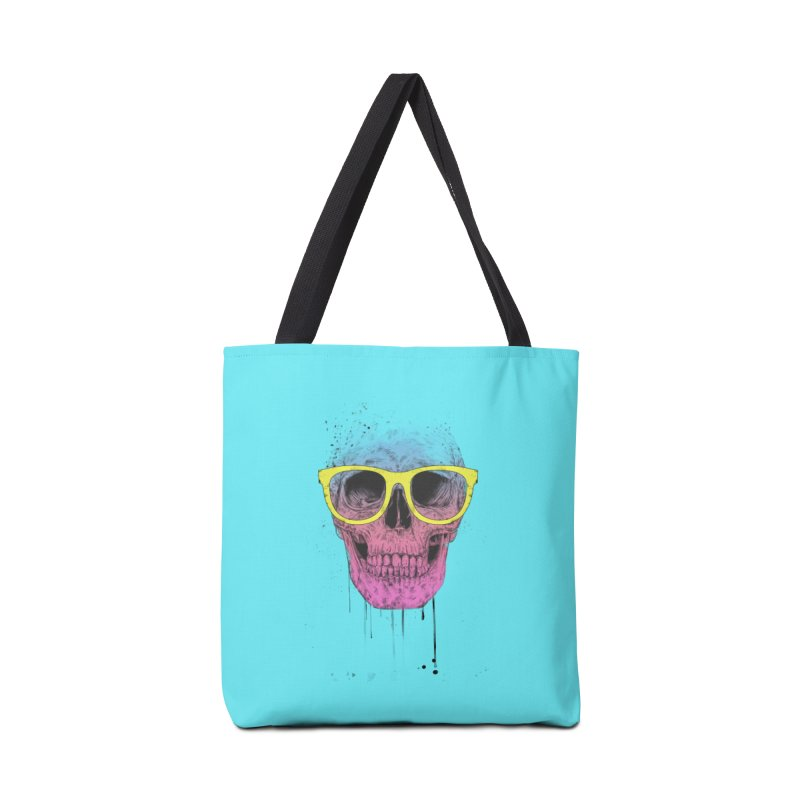 Pop art skull with glasses Accessories Tote Bag Bag by Balazs Solti