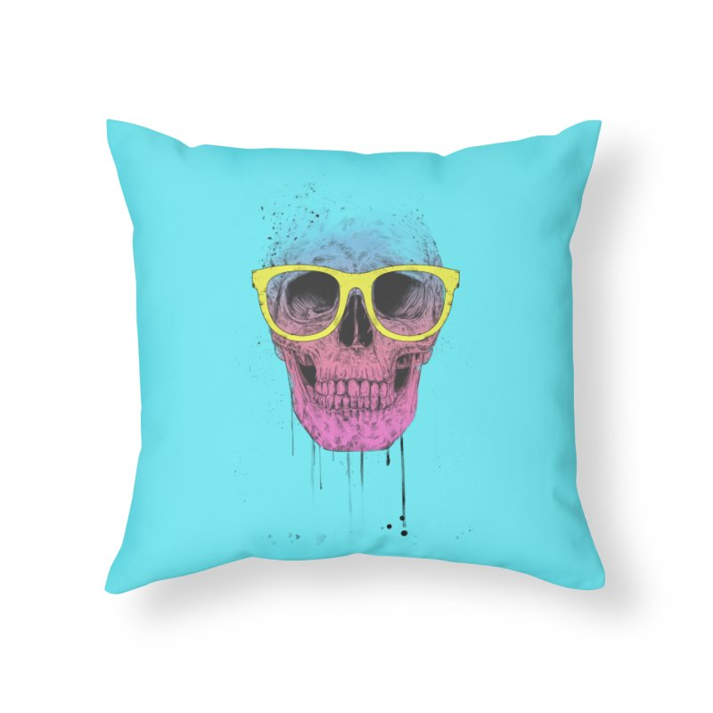 Pop art skull with glasses Home Throw Pillow by Balazs Solti