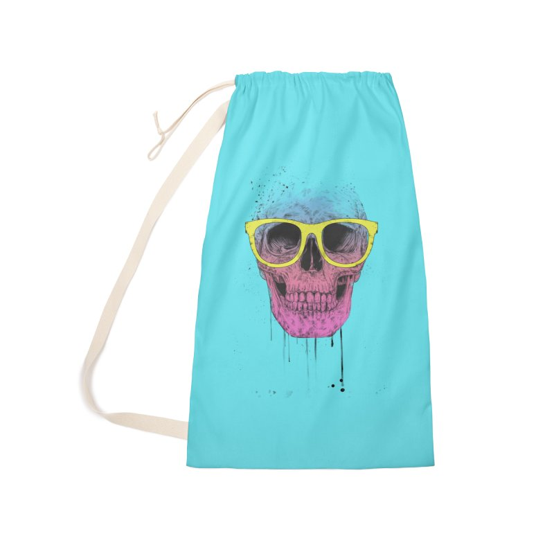 Pop art skull with glasses Accessories Laundry Bag Bag by Balazs Solti