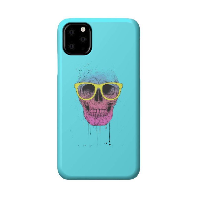 Pop art skull with glasses Accessories Phone Case by Balazs Solti