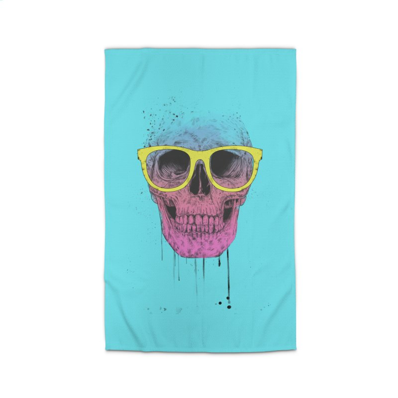 Pop art skull with glasses Home Rug by Balazs Solti