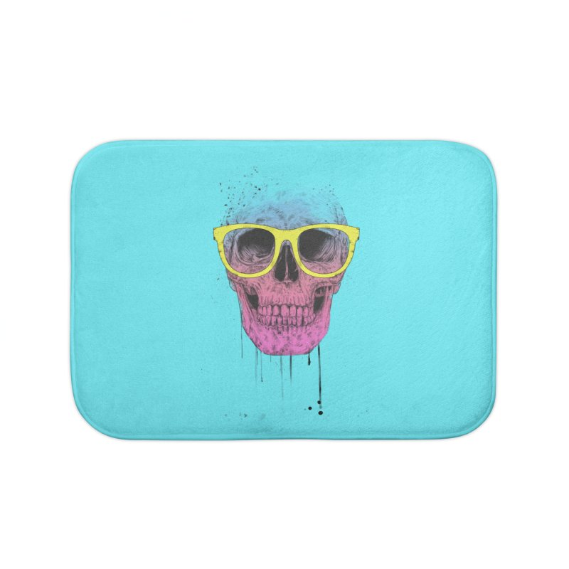 Pop art skull with glasses Home Bath Mat by Balazs Solti