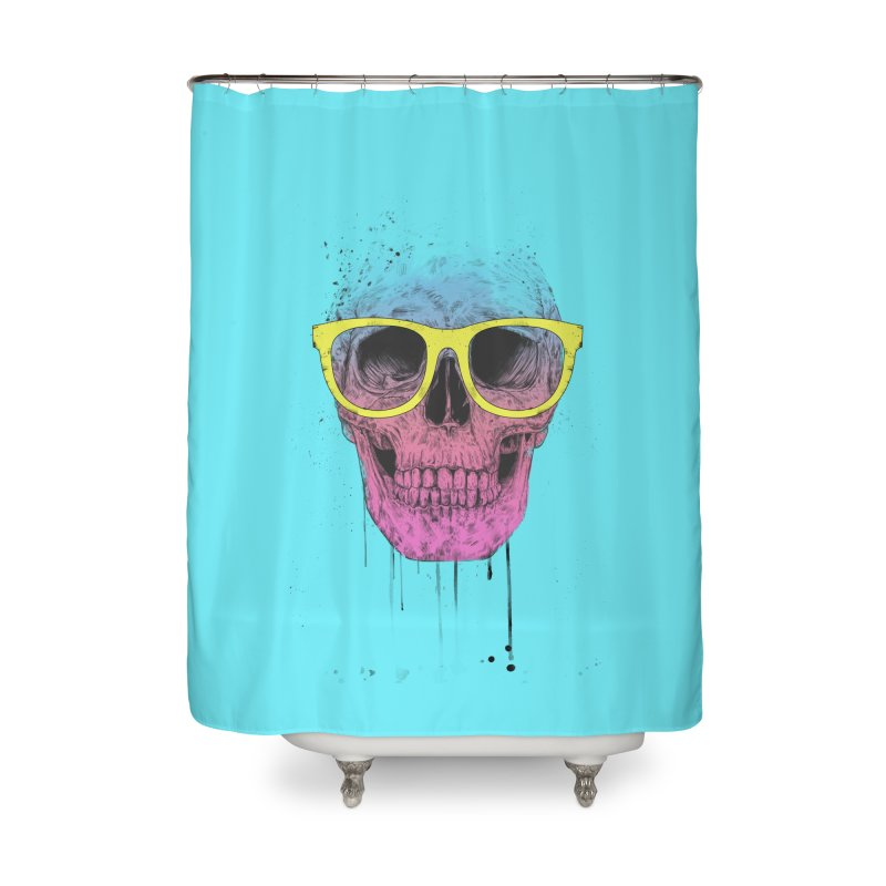 Pop art skull with glasses Home Shower Curtain by Balazs Solti