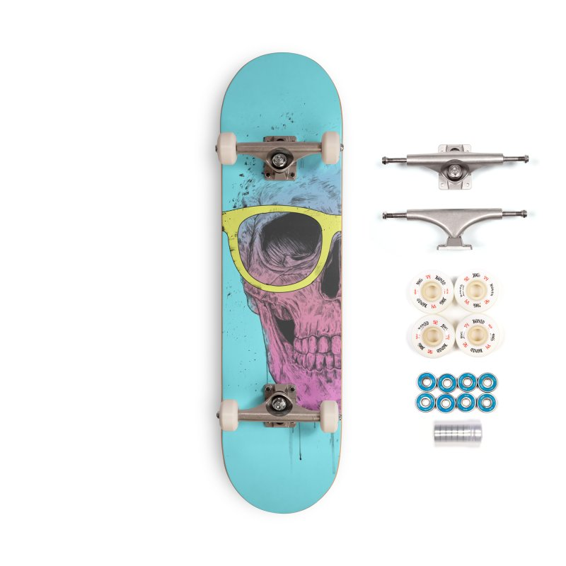 Pop art skull with glasses Accessories Complete - Premium Skateboard by Balazs Solti