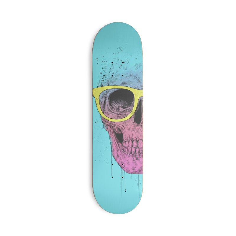 Pop art skull with glasses Accessories Deck Only Skateboard by Balazs Solti