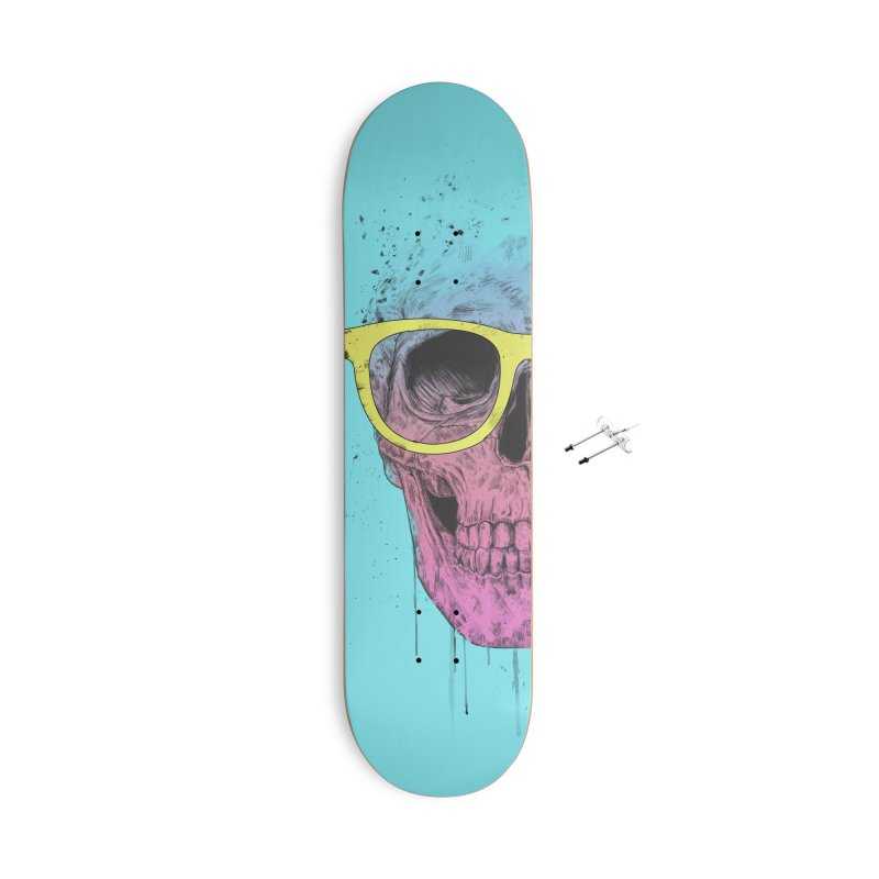 Pop art skull with glasses Accessories With Hanging Hardware Skateboard by Balazs Solti