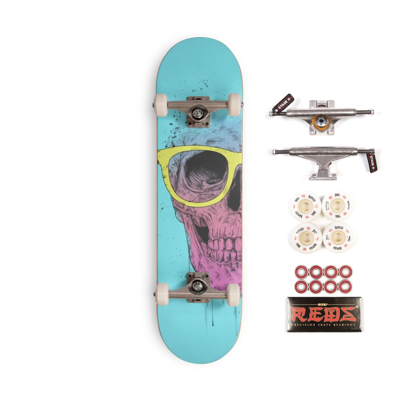 Pop art skull with glasses Accessories Complete - Pro Skateboard by Balazs Solti