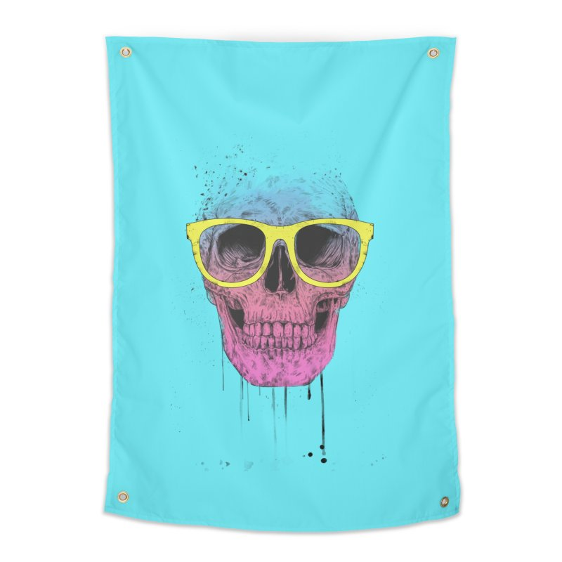 Pop art skull with glasses Home Tapestry by Balazs Solti