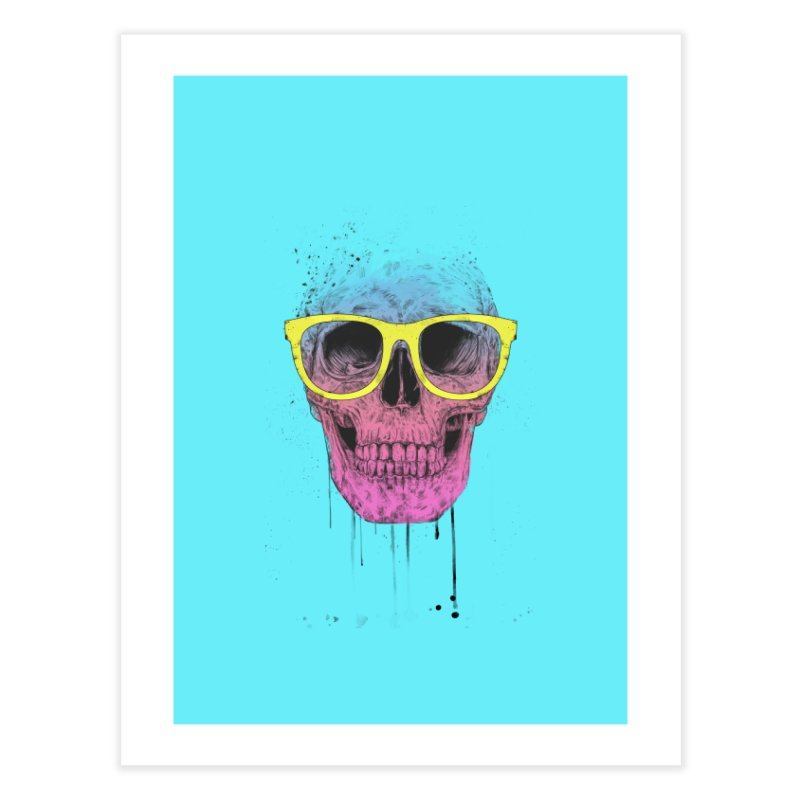Pop art skull with glasses Home Fine Art Print by Balazs Solti