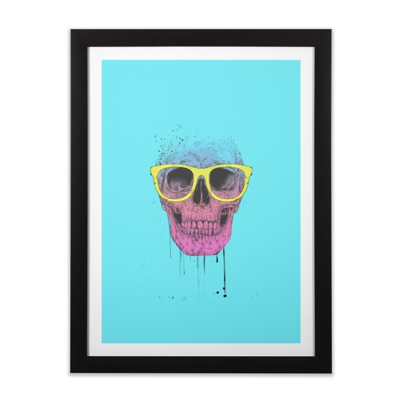 Pop art skull with glasses Home Framed Fine Art Print by Balazs Solti