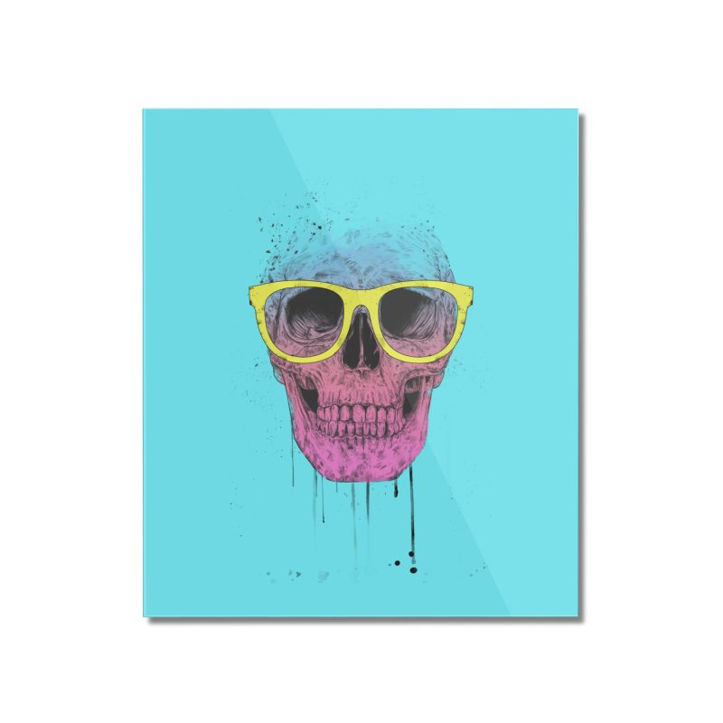 Pop art skull with glasses Home Mounted Acrylic Print by Balazs Solti