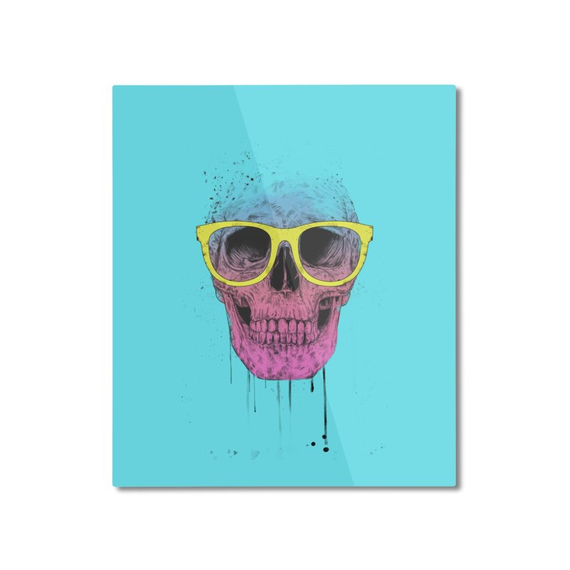 Pop art skull with glasses Home Mounted Aluminum Print by Balazs Solti