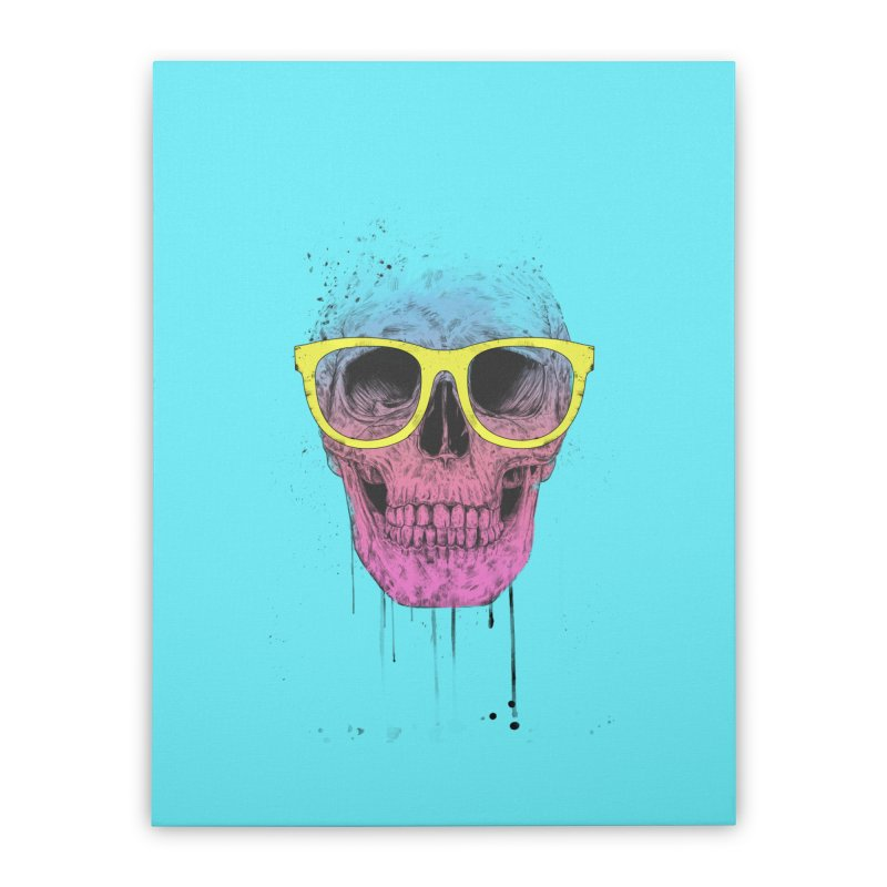 Pop art skull with glasses Home Stretched Canvas by Balazs Solti