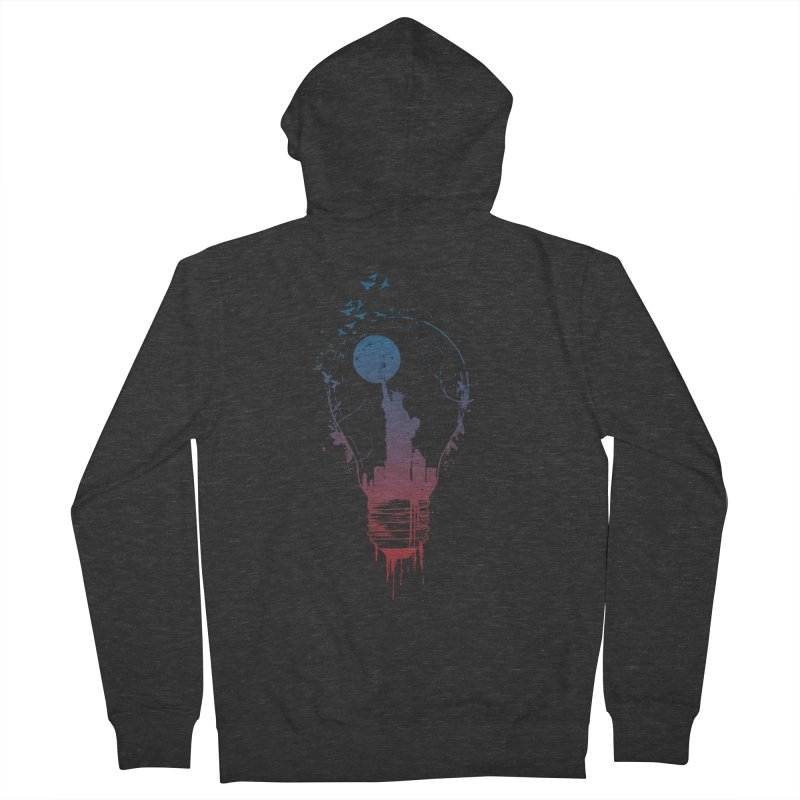 New York City Lights Men's French Terry Zip-Up Hoody by Balazs Solti