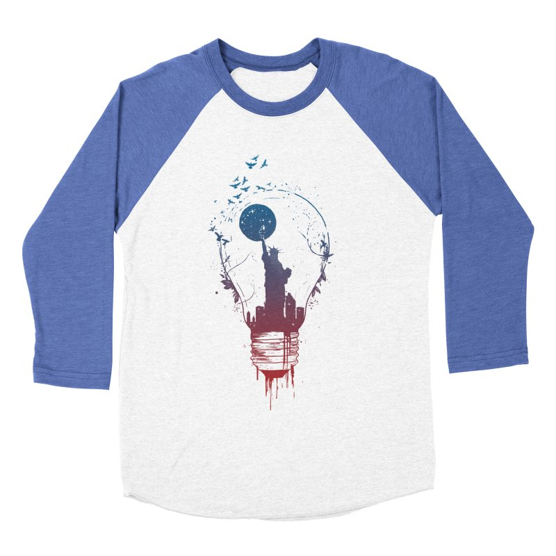 New York City Lights Women's Baseball Triblend Longsleeve T-Shirt by Balazs Solti