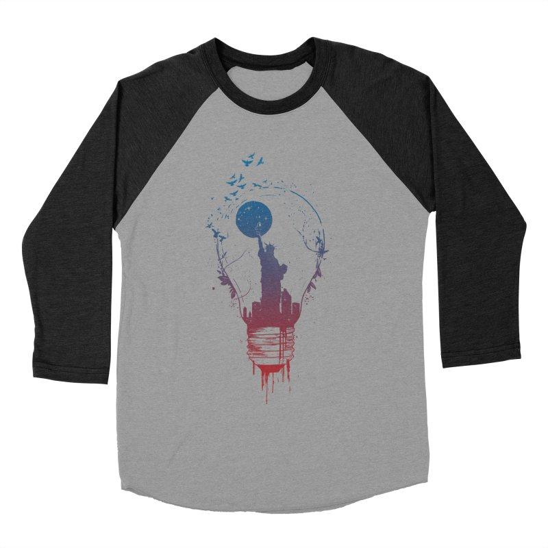 New York City Lights Men's Baseball Triblend Longsleeve T-Shirt by Balazs Solti