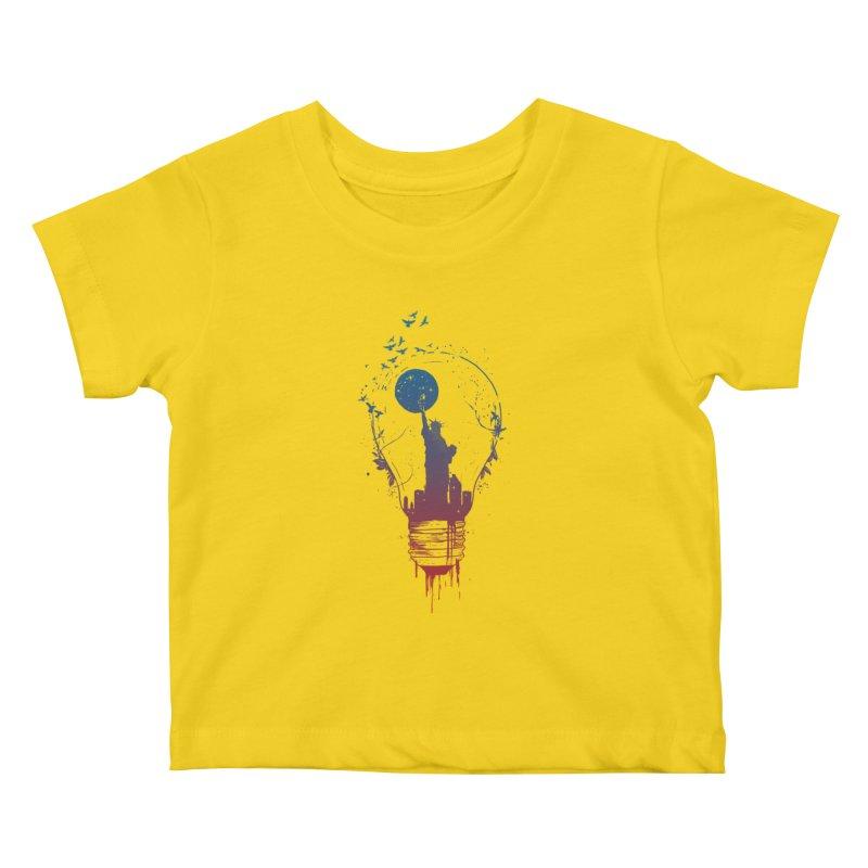 New York City Lights Kids Baby T-Shirt by Balazs Solti