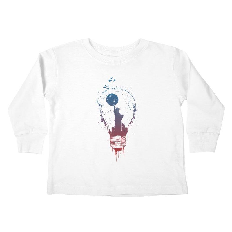 New York City Lights Kids Toddler Longsleeve T-Shirt by Balazs Solti