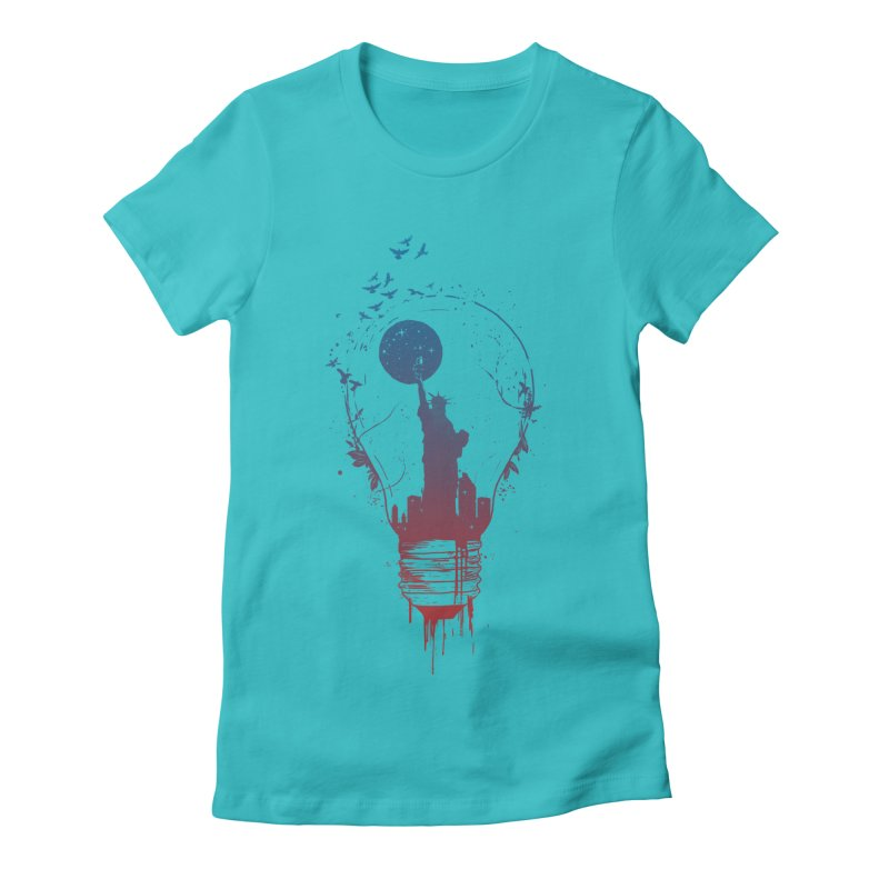 New York City Lights Women's Fitted T-Shirt by Balazs Solti