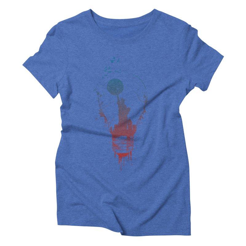 New York City Lights Women's Triblend T-Shirt by Balazs Solti