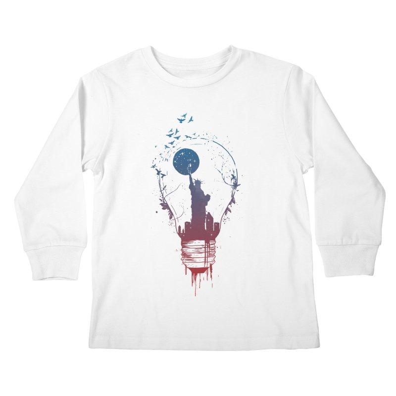 New York City Lights Kids Longsleeve T-Shirt by Balazs Solti