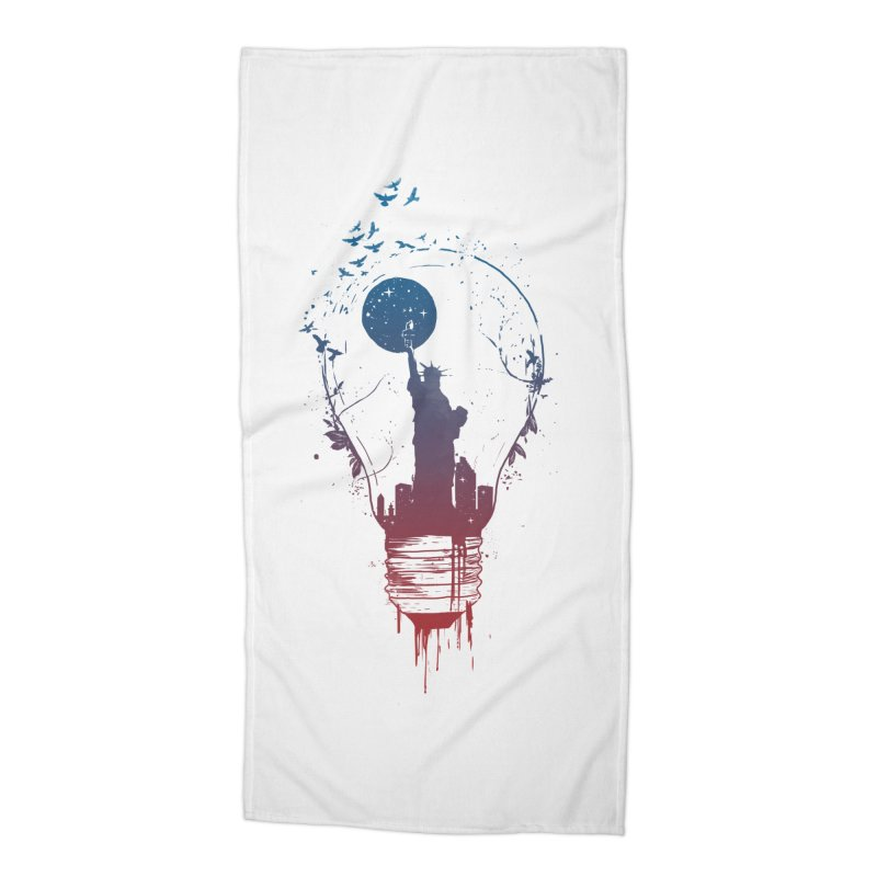 New York City Lights Accessories Beach Towel by Balazs Solti