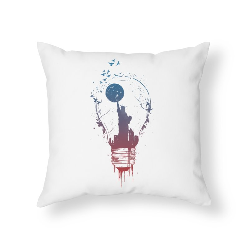 New York City Lights Home Throw Pillow by Balazs Solti