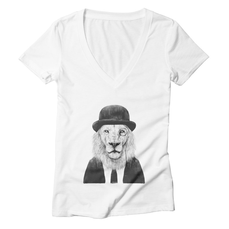 Sir lion Women's Deep V-Neck V-Neck by Balazs Solti