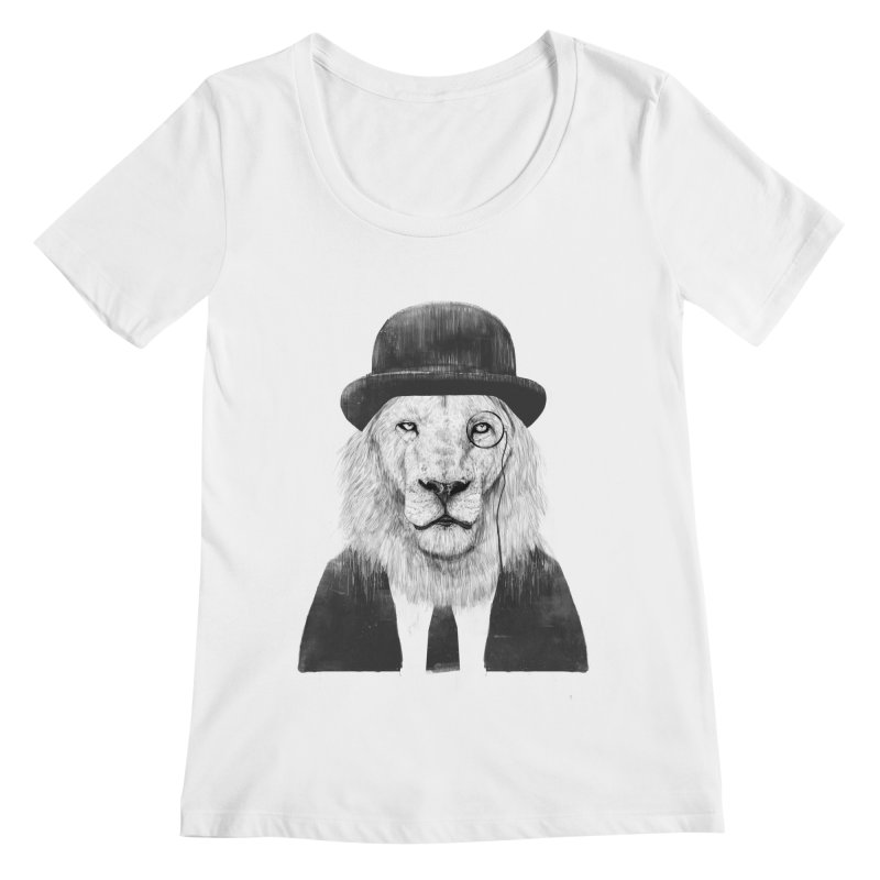 Sir lion Women's Regular Scoop Neck by Balazs Solti