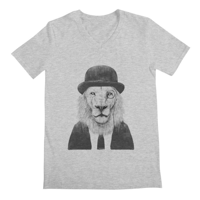 Sir lion Men's Regular V-Neck by Balazs Solti