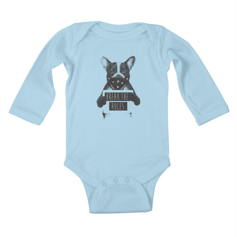 Rebel dog Kids Baby Longsleeve Bodysuit by Balazs Solti