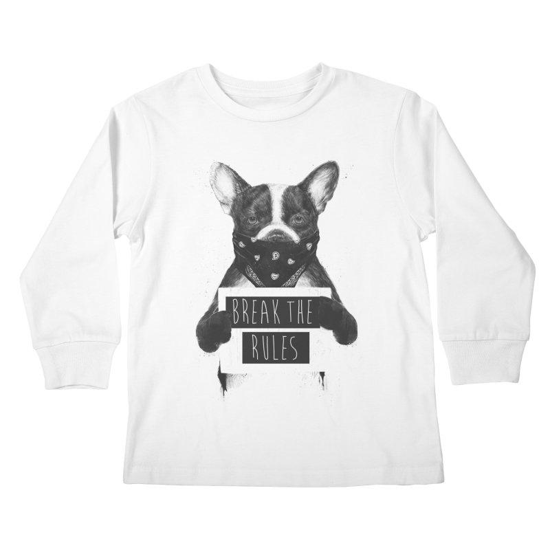 Rebel dog Kids Longsleeve T-Shirt by Balazs Solti