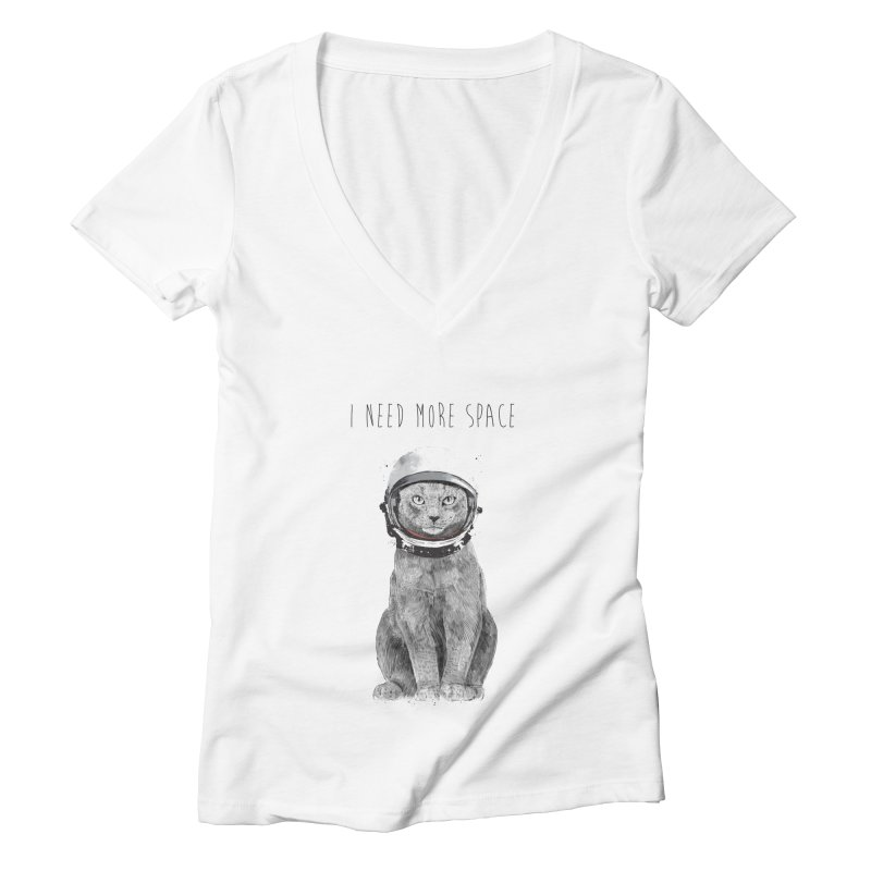 I need more space Women's Deep V-Neck V-Neck by Balazs Solti