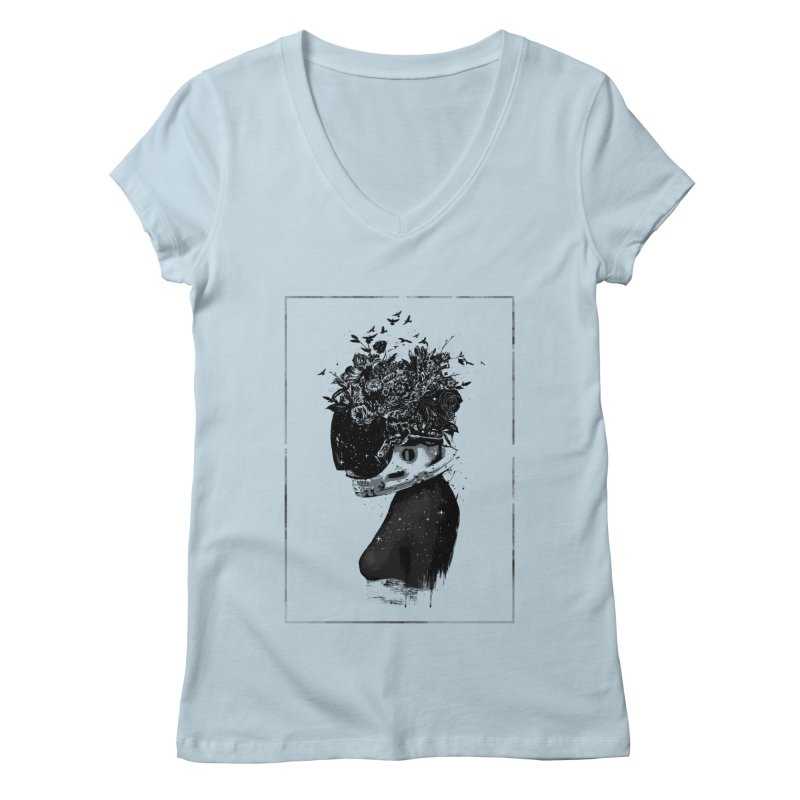 Hybrid  girl Women's V-Neck by Balazs Solti