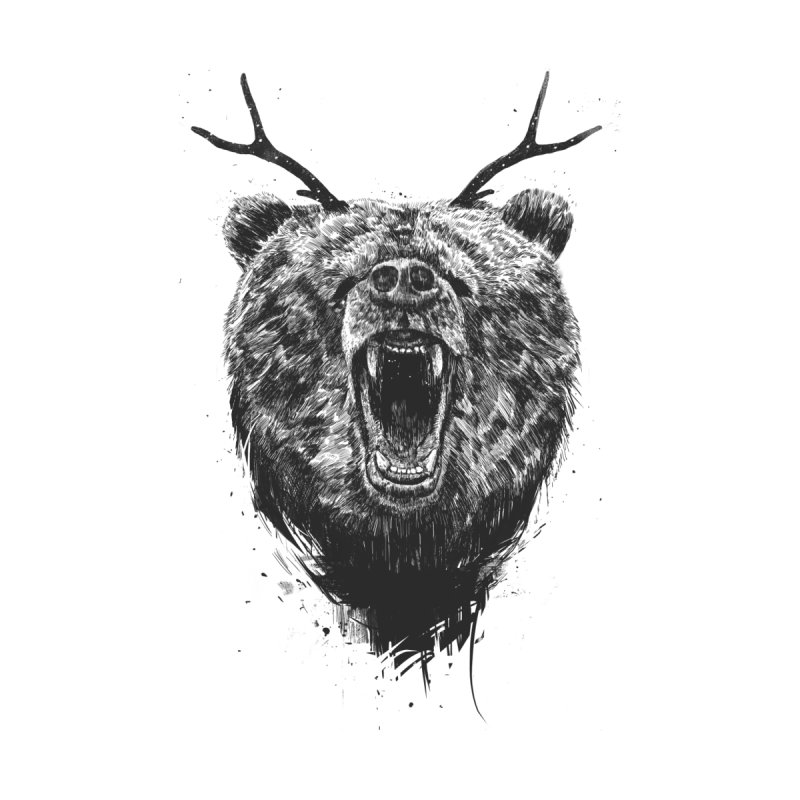 Angry bear with antlers Men's T-Shirt by Balazs Solti
