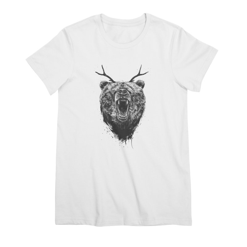 Angry bear with antlers Women's Premium T-Shirt by Balazs Solti