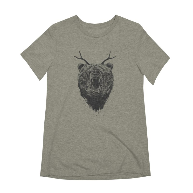 Angry bear with antlers Women's Extra Soft T-Shirt by Balazs Solti