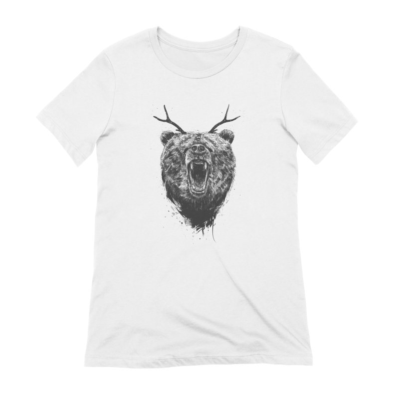 Angry bear with antlers Women's T-Shirt by Balazs Solti