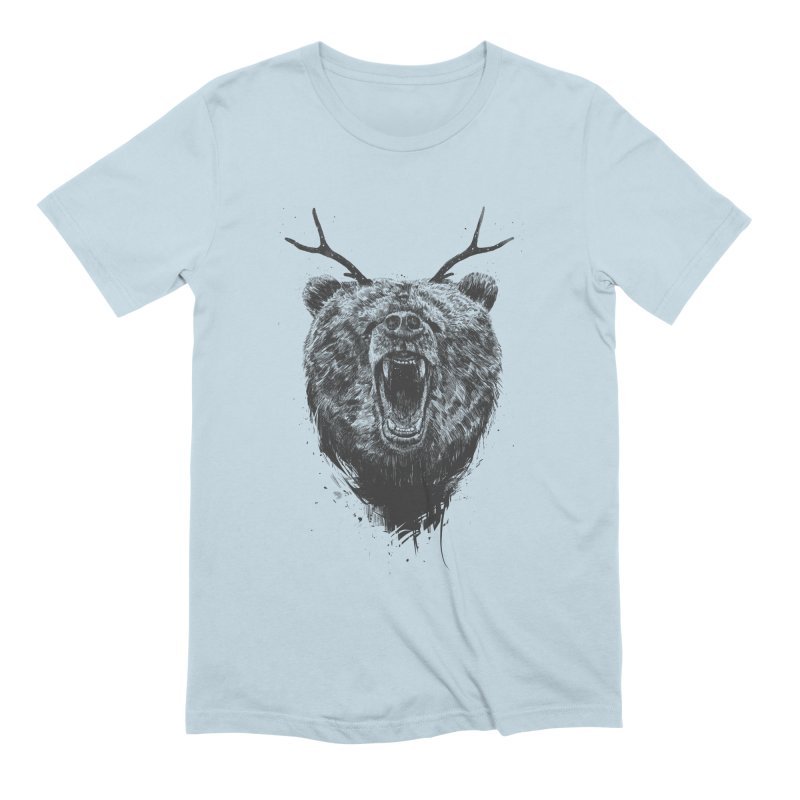 Angry bear with antlers Men's Extra Soft T-Shirt by Balazs Solti