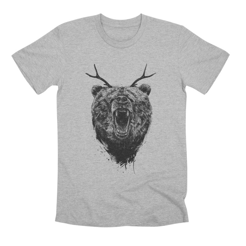 Angry bear with antlers Men's Premium T-Shirt by Balazs Solti