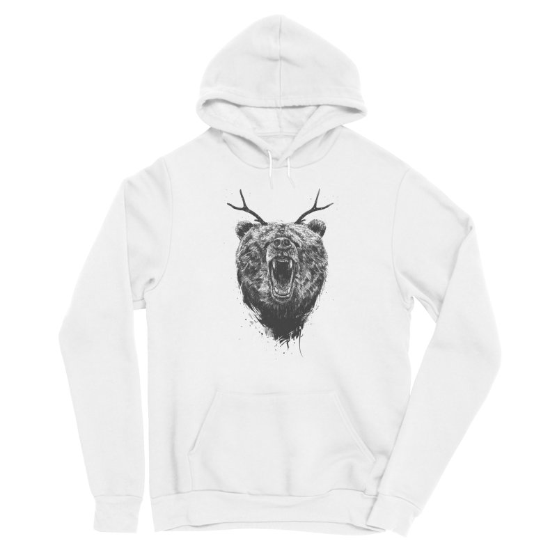 Angry bear with antlers Women's Sponge Fleece Pullover Hoody by Balazs Solti